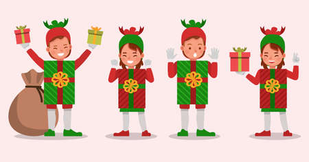 Set of kids boy and girl wearing christmas gift box costumes character vector design. Presentation in various action with emotions. 向量圖像