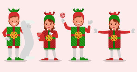 Set of kids boy and girl wearing christmas gift box costumes character vector design. Presentation in various action  emotions.