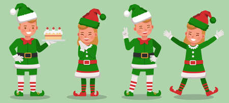 Set of kids wearing christmas elf costumes character vector design. Presentation in various action  emotions.