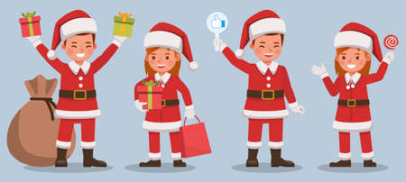 Set of kids wearing Christmas costumes character vector design. Presentation in various action  emotions.