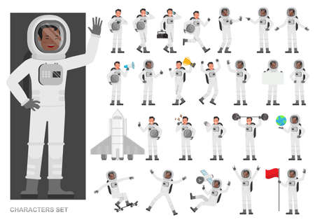 Set of Astronaut people working character vector design. Presentation in various action with emotions, running, standing and walking.
