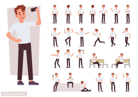Set of man character vector design. Presentation in various action with emotions, running, standing and walking.