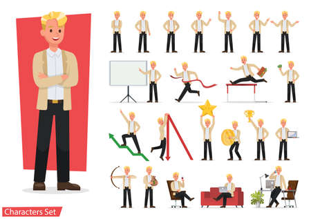 Set of business people working character vector design. Presentation in various action with emotions, running, standing and walking. 向量圖像