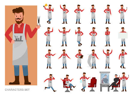 Set of Barber people working character vector design. Presentation in various action with emotions, running, standing and walking. 向量圖像