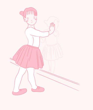 Happy ballet kid girl hand drawing character vector design