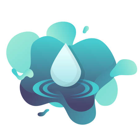 water drop icon flat with fluid shapes background vector design.