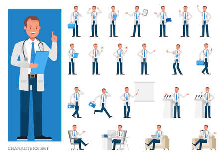 Set of Doctor working character vector design. Presentation in various action with emotions, running, standing and walking. 版權商用圖片 - 160063070