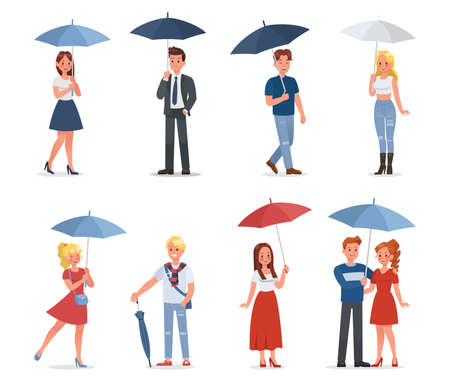 set of happy man and woman under umbrella vector character design 向量圖像
