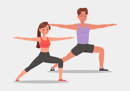 set of fitness man and woman doing yoga vector character design. Healthy lifestyle.