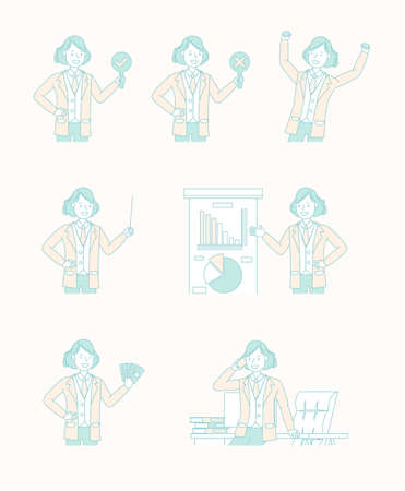 Set of business people working character vector design. no4 版權商用圖片 - 160093635