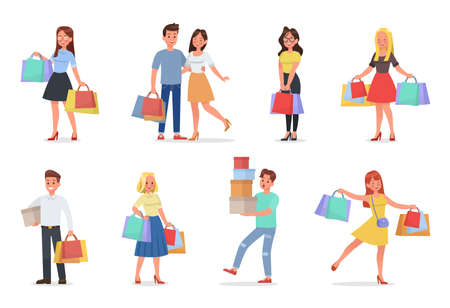 set of man and woman shopping character with boxes and paper bags vector design 向量圖像