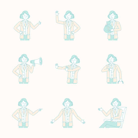 Set of business people working character vector design. Иллюстрация