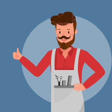 Barber smile Thumb Up Like character vector design