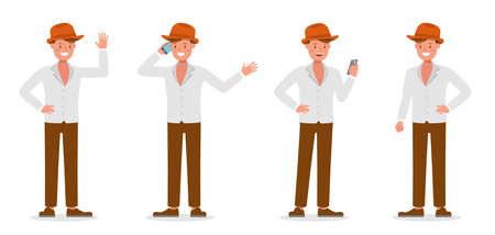 Businessman working character vector design no27 Vetores