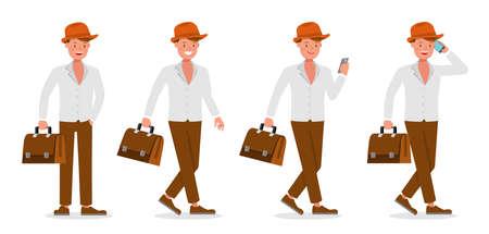 Businessman working character vector design no23