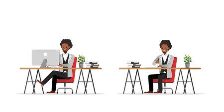 Businessman working character vector design no92