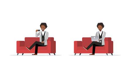 Businessman working character vector design no90 Illusztráció