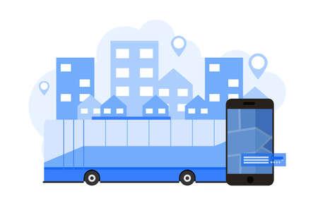 City bus tour public transport. Mobile transportation vector illustration concept.