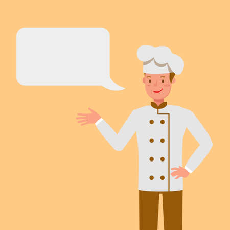 Chef with Chat Bubbles character vector design.