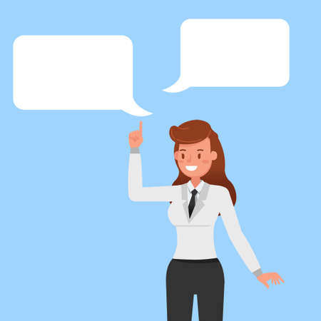 Businesswomen with Chat Bubbles character vector design. no3