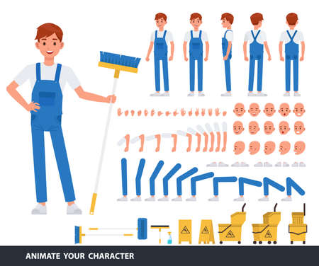 Cleaning man staff character vector design. Create your own pose. Illustration