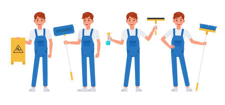Cleaning staff character vector design no4