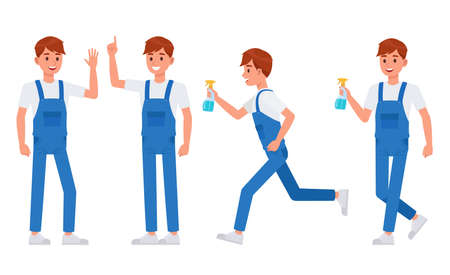 Cleaning staff character vector design no3