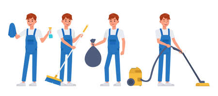 Cleaning staff character vector design no6 Illustration
