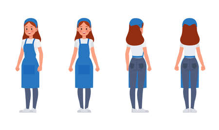 Cleaning staff character vector design no7