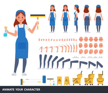 Cleaning woman staff character vector design. Create your own pose.