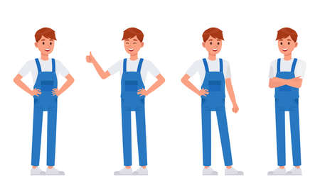 Cleaning staff character vector design no2