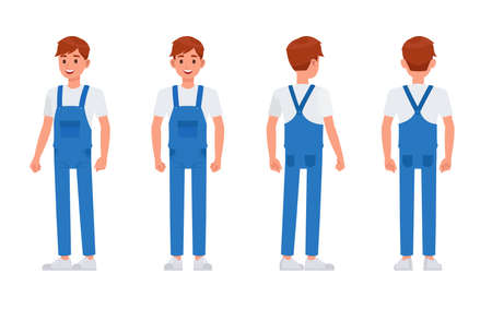 Cleaning staff character vector design