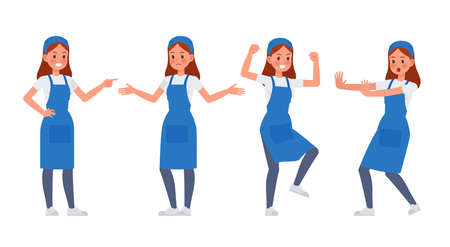 Cleaning staff character vector design no11