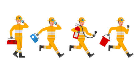 Firefighter character vector design. Presentation in various action. no5