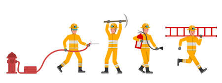 Firefighter character vector design. Presentation in various action. no6
