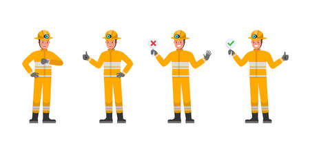 Firefighter character vector design. Presentation in various action. no4