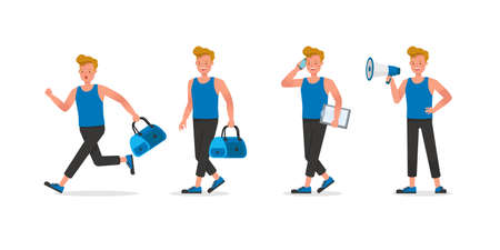 Fitness trainer character vector design. Man dressed in sports clothes. no4 Illustration