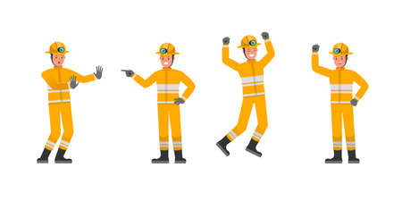 Firefighter character vector design. Presentation in various action. no3 Illustration