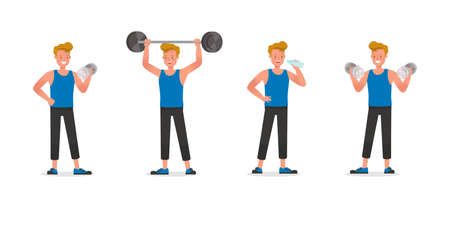 Fitness trainer character vector design. Man dressed in sports clothes. Illustration