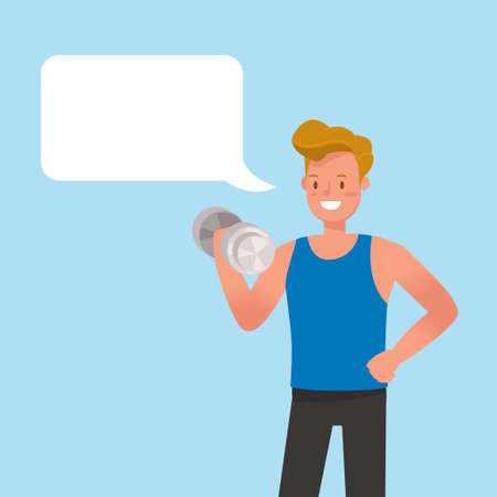 Fitness trainer with Chat Bubbles character vector design.