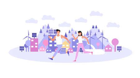 Happy man and woman jogging in city park. Character vector design.
