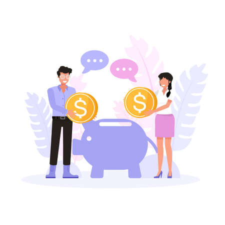 Happy man and woman saving money for the future. Character vector design. Illustration