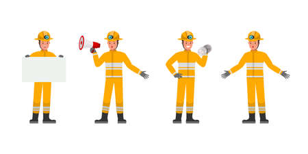 Firefighter character vector design. Presentation in various action. no2