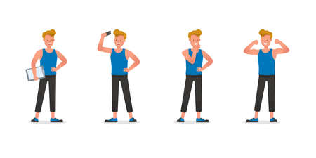 Fitness trainer character vector design. Man dressed in sports clothes. no7