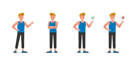 Fitness trainer character vector design. Man dressed in sports clothes. no3 Illustration