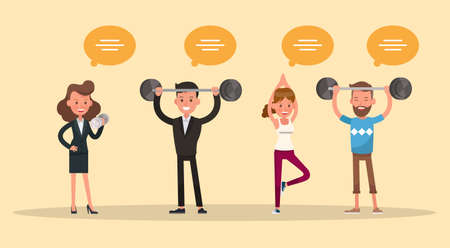people exercise character vector design no5 Illustration