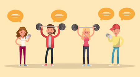people exercise character vector design