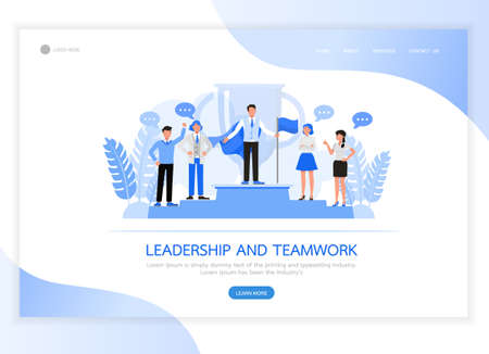 People character vector design. Business concept of leadership and teamwork concept. For landing page, web banner, infographics and background template.