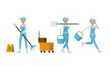 Professional janitor woman vector character design. Presentation in various action.