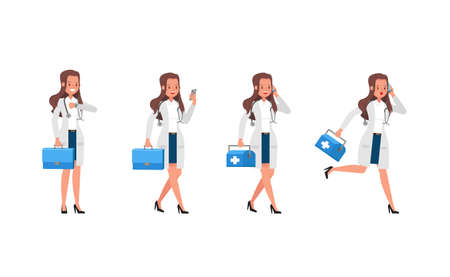 Woman doctor vector character design. Presentation in various action. no3